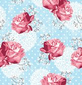 Seamless pattern with flowers Floral background with roses and cherry blossom poster