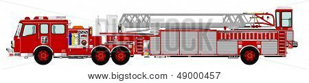 Red Tiller Tractor Drawn Aerial Fire Ladder