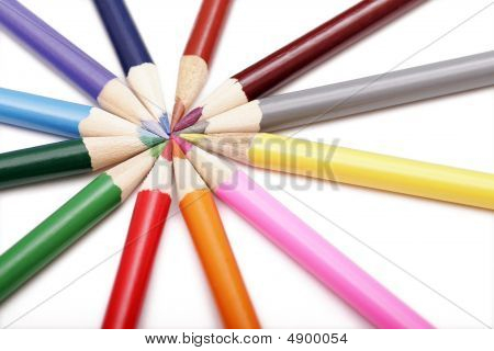 Colored Pencils In Round Shape