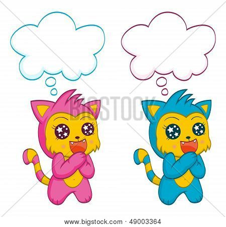Cute cats with speech bubbles