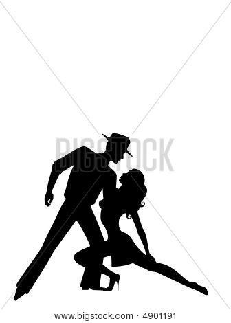 Loving Couple Dancing A Tango