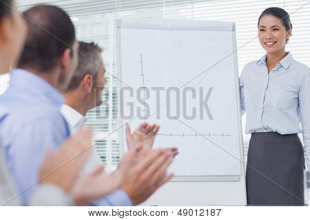 Business people applauding their colleague for her presentation in bright office