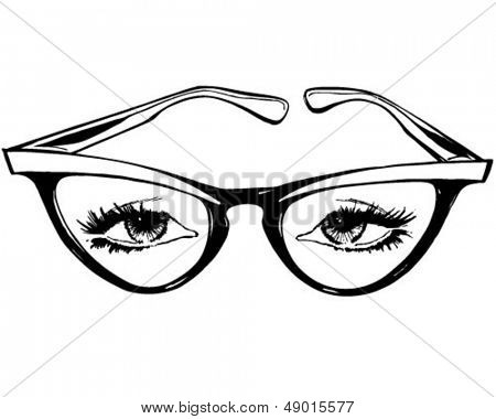 Cat Eye Glasses - Retro ClipArt-Grafik Illustration
