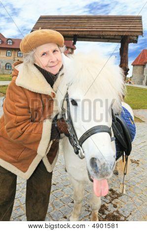 Happy Granny With Pony