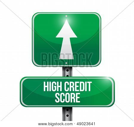 High Credit Score Road Sign Illustration Design