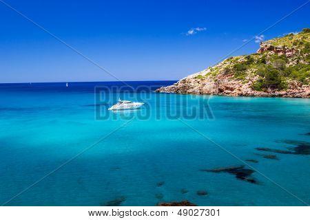 Cala de Algariens seascape  in sunny day at Menorca, Spain.