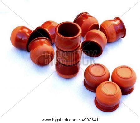 Twelve Earthenware Custard Cups