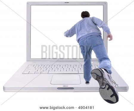 Man Running Into Laptop Computer