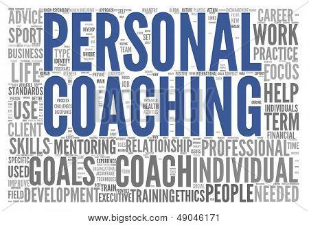 Conceito de coaching pessoal relacionados com palavras na tag cloud isolado no branco
