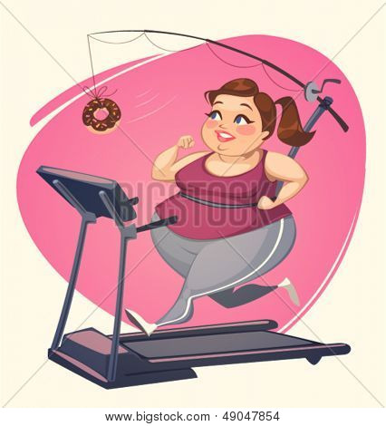 Fat girl is running. Vector illustration.