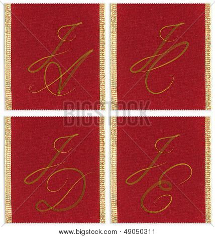 Collection of textile monograms design on a ribbon. JA; JC;  JD; JE