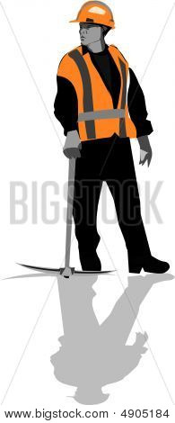 Construction Worker with Pick Axe
