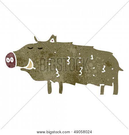 retro cartoon wild boar