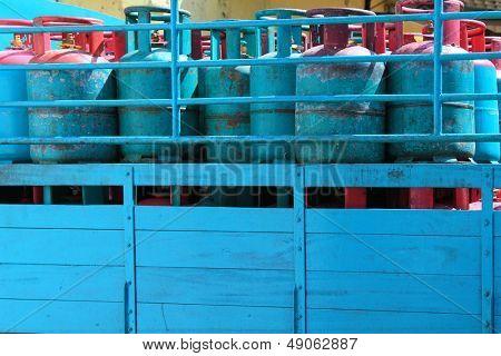 A truck load of Blue 14 Kilogram Gas Cylinders - Liquefied Petroleum Gas (LPG)