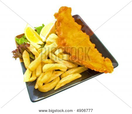 Fish And Chips On Plate