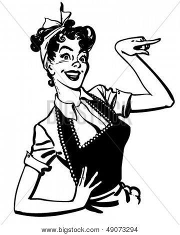 Apuntando a ama de casa - Retro Clip Art Illustration