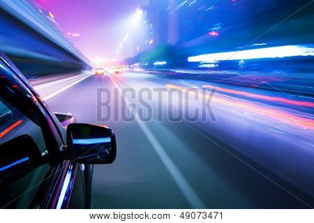 Car driving fast