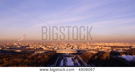 Smog Above Center Of Moscow (panoramic View)