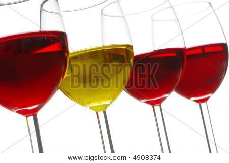Glasses filed with wine studio isolated on white background poster