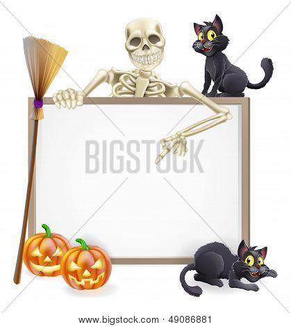 Skeleton Halloween Sign