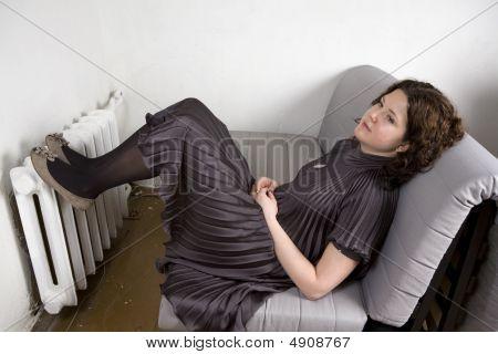 Portrait Of Young Adorable Pensive  Woman