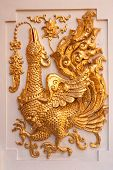 Fairy tale bird in traditional northern Thai style molding art poster