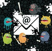 Virus monsters in the email letter. Vector illustration. poster