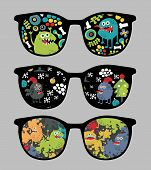 Retro sunglasses with monsters and flora reflection in it. Vector illustration of accessory - eyeglasses isolated. poster