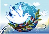 Peace to the Earth with white doves and a branch of olives tree. Vector EPS AI8. poster