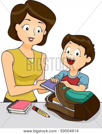 Illustration of a Mother Helping Her Son Pack the Things He Needs for School