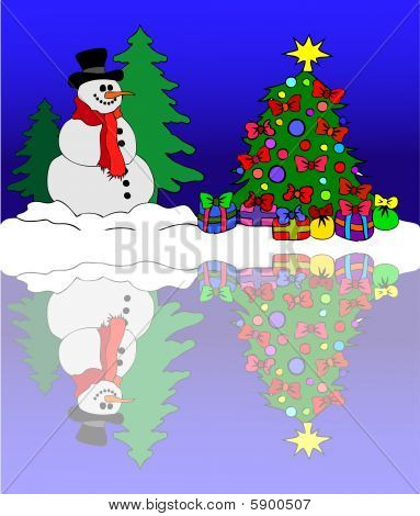 Snowman At A Winter Sea