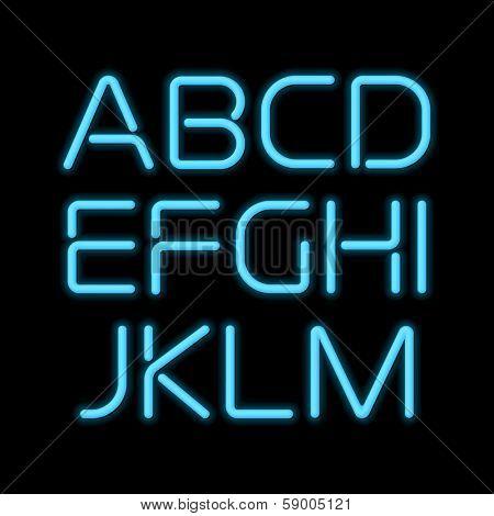 3D realistic blue neon letters. San-serif neon alphabet.