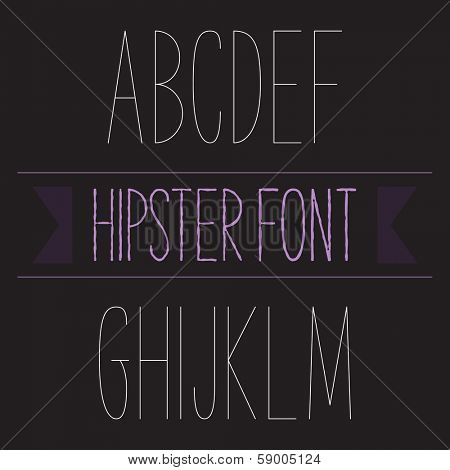 Modern minimal hipster font alphabet; Sans-serif elegant light font, vector alphabet letters design.  Thin, light version