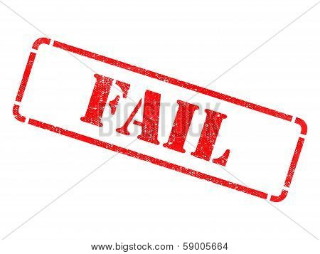 Fail - Inscription on Red Rubber Stamp.