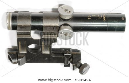 Old worn sniper scope waiting for its gun