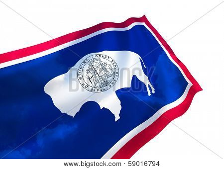 Illustration of Wyoming state flag with sky,  waving in the wind