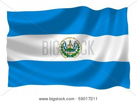 Flag of Salvador waving in the wind