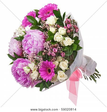 Bouquet From Peon And Gerbera Flowers And Roses Isolated On White Background.