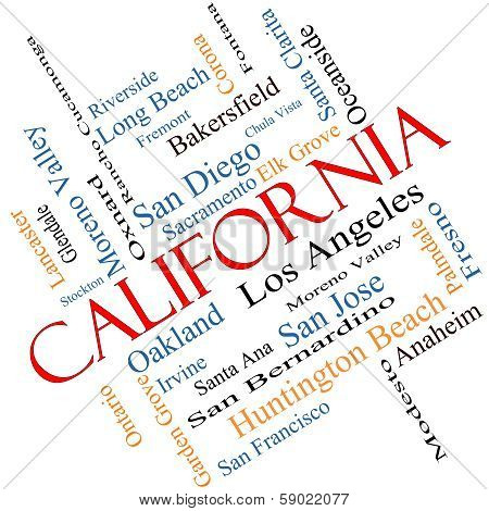 California State Word Cloud Concept Angled