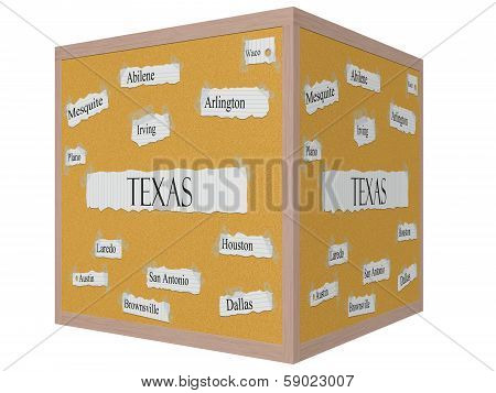 Texas State 3D Cube Corkboard Word Concept