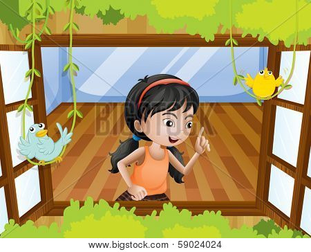Illustration of a girl at the window with birds