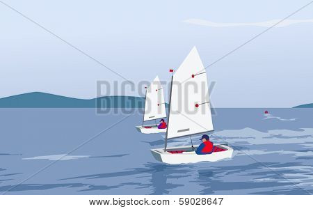 small boats sailing on a summer breeze