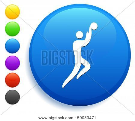 Basket Ball Icon on Round Button Collection