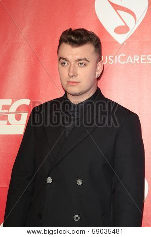 LOS ANGELES - JAN 24:  Sam Smith at the 2014 MusiCares Person of the Year Gala in honor of Carole King at Los Angeles Convention Center on January 24, 2014 in Los Angeles, CA