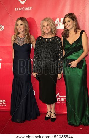 LOS ANGELES - JAN 24:  Sherry Goffin Kondor, Carole King, Louise Griffin at the 2014 MusiCares Person of the Year Gala at Los Angeles Convention Center on January 24, 2014 in Los Angeles, CA