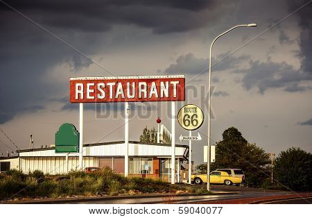 Restaurant sign along historic Route 66 in Texas. Vintage Processing. poster