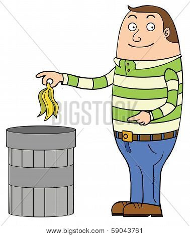 Placing Rubbish In Trash Can
