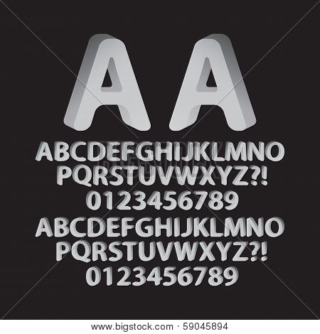Down Left And Right Rounded Isometric Font And Numbers, Eps 10 Vector