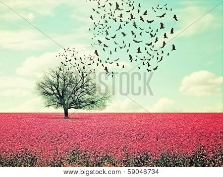 a pretty lanscape with a pink field and a tree with birds flying