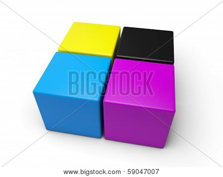 CYMK colored cubes